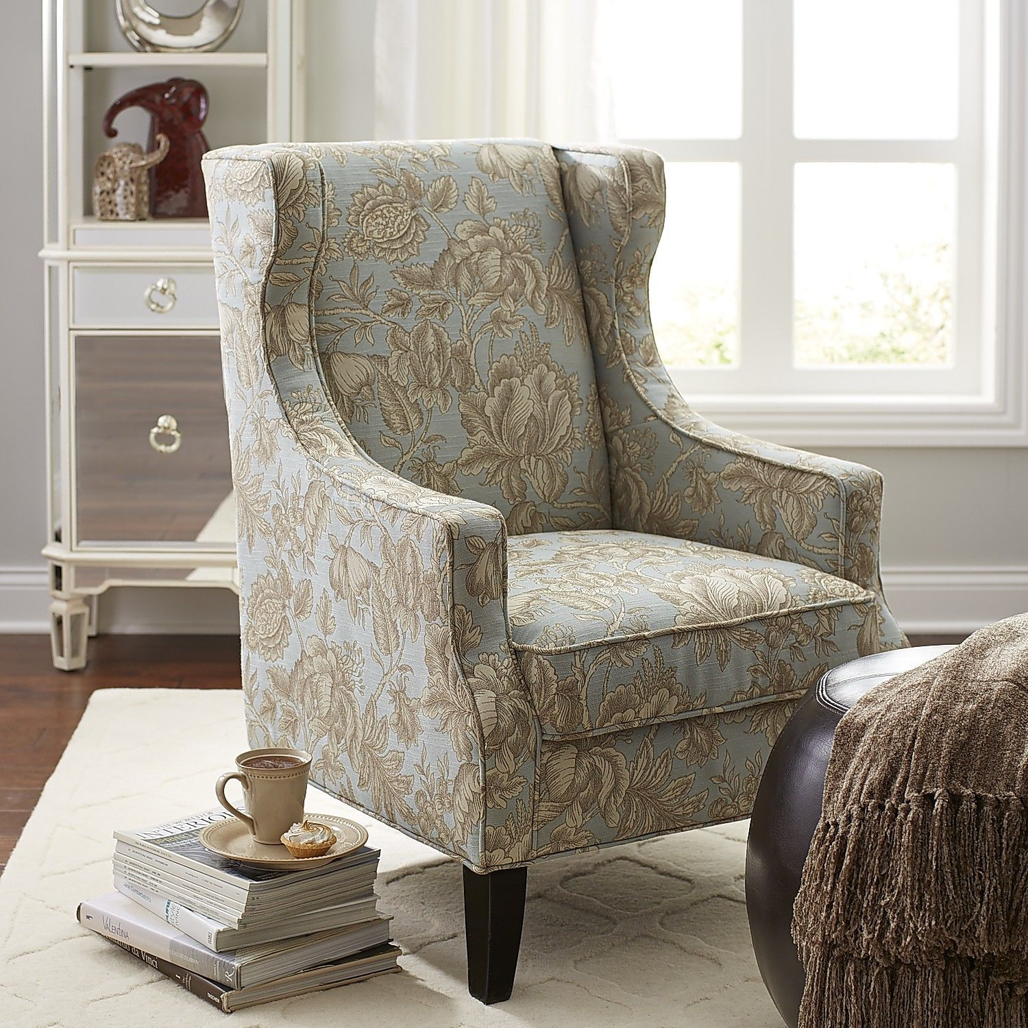 alec wing chair hair salon massage blue floral living room chairs