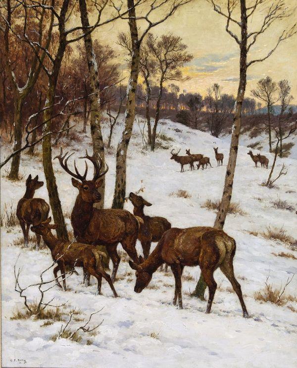 Deer In Winter Landscape Georges Frric Tig 1873-1961 Art