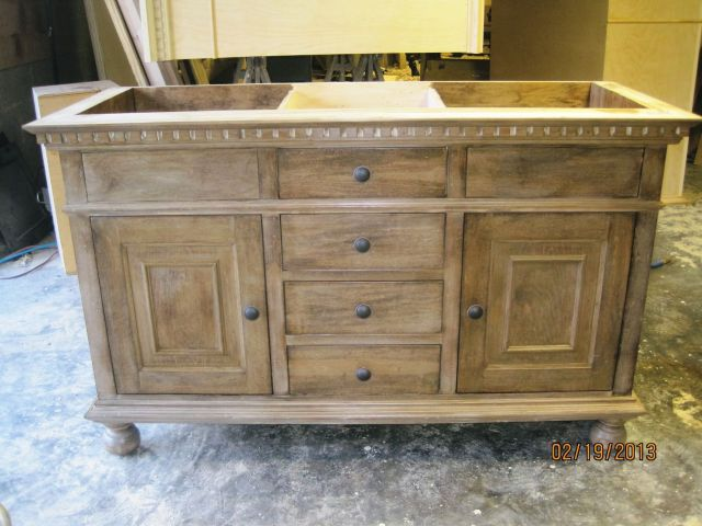 St James Double Sink Vanity in Antique Natural Finish
