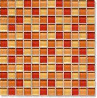 Glass Tile Kitchen Backsplash Designs | Orange Mosaic ...