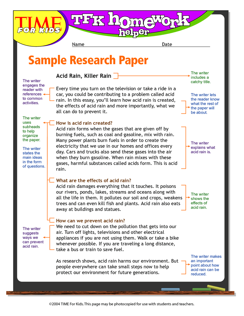6th Grade Science Project Research Paper Coursework Service