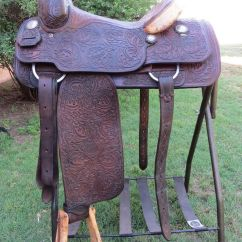 Horse Saddle Office Chair Swinging Lift Video 8718 Handmade Billy Hogg Full Tooled Calf Roping 14 ⅛"