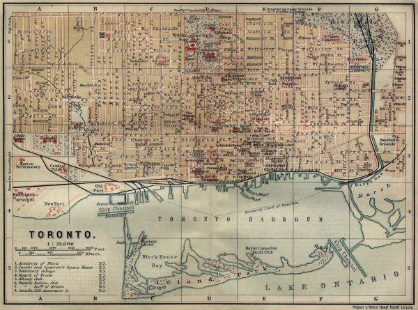 Antique map of Toronto from 1894 toronto ontario