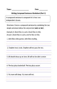 Writing Compound Sentences Worksheet Part 1