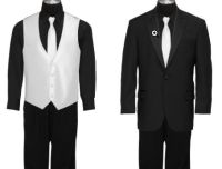black shirt and pants with white tie and vest for Luke ...
