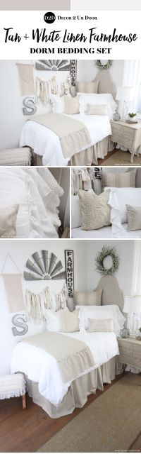 Farmhouse dorm room bedding and decor. Love that fixer