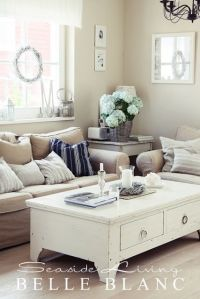 Pretty little living room, adoring this coffee table ...