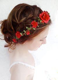 red flower hair circlet, red flower headband, bridal hair ...