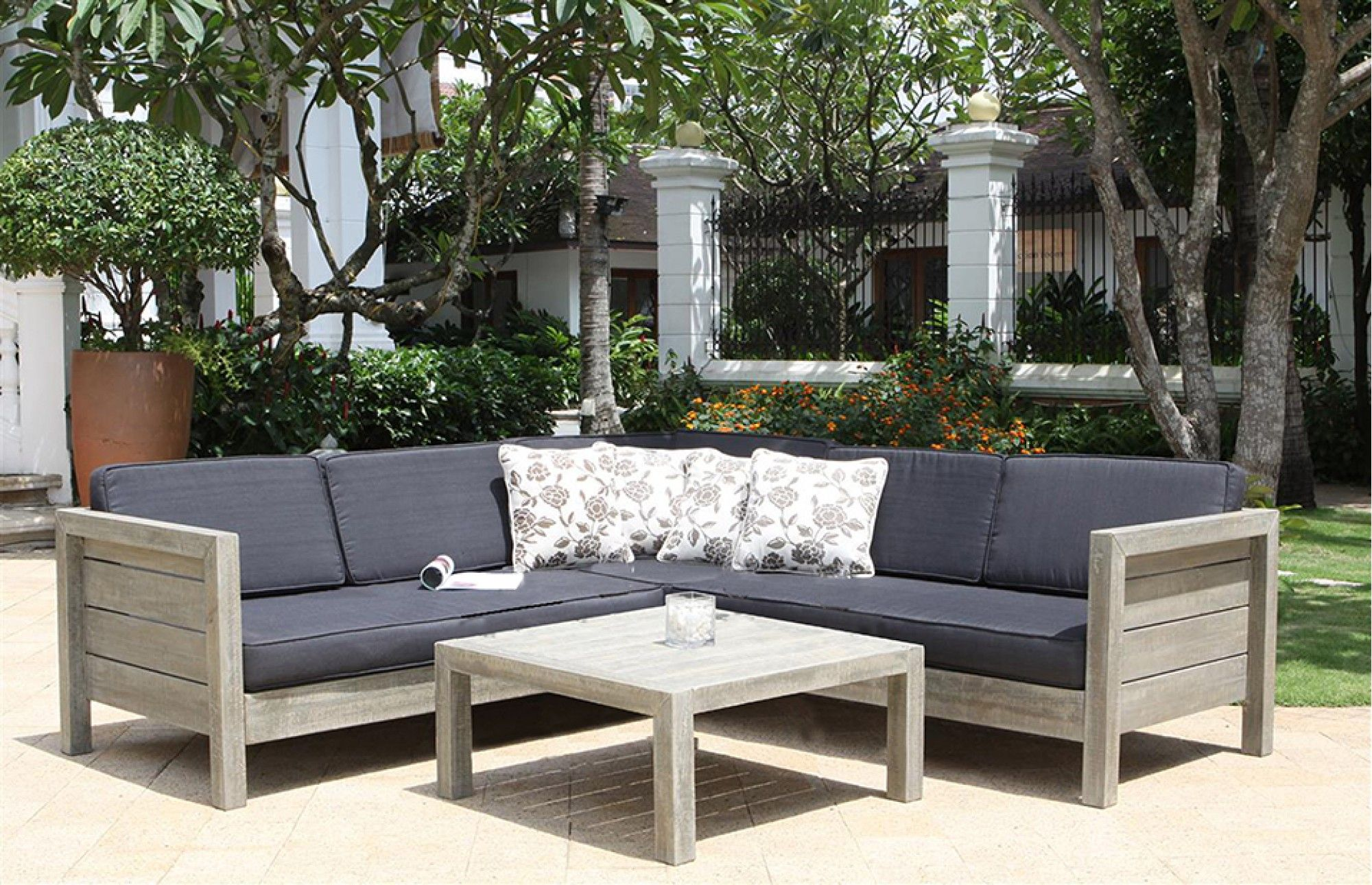 lodge sofa quilted microsuede slipcover buy the garden set made from solid wood and get