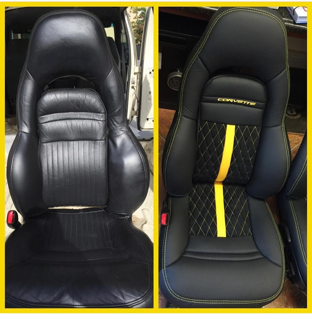 corvette seat office chair dining accessories yellow and black interior seats diamond stitch