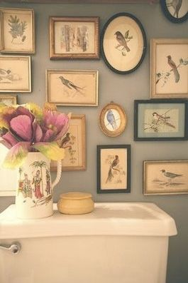 various catchy decorating ideas for bathrooms | bird prints