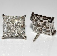 Mens Diamond Stud Earrings Xl Big Square Round Dia Screw