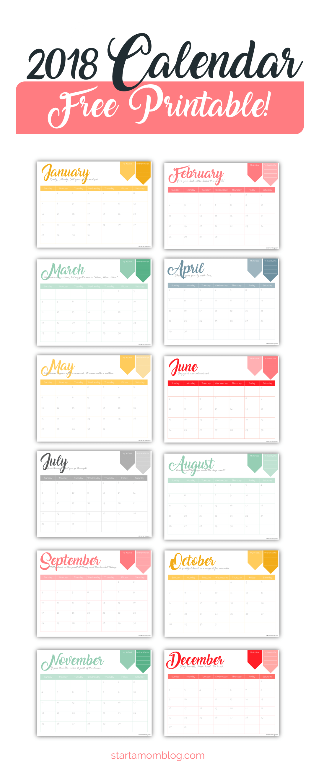 Free Calendar Printable With Inspirational Quotes For