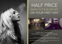 Hair salon flyer offering discounts