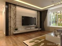 Modern rendering of TV background wall decoration-12.24 ...
