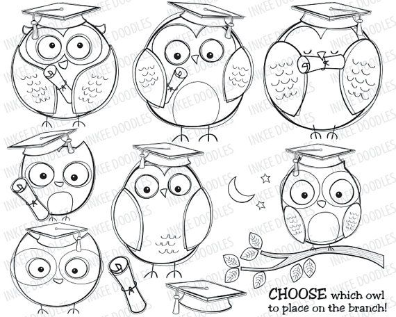 Graduation Owls School College Education Doodles Clip Art