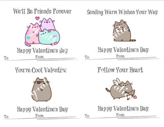 Cards Box Valentines Pusheen