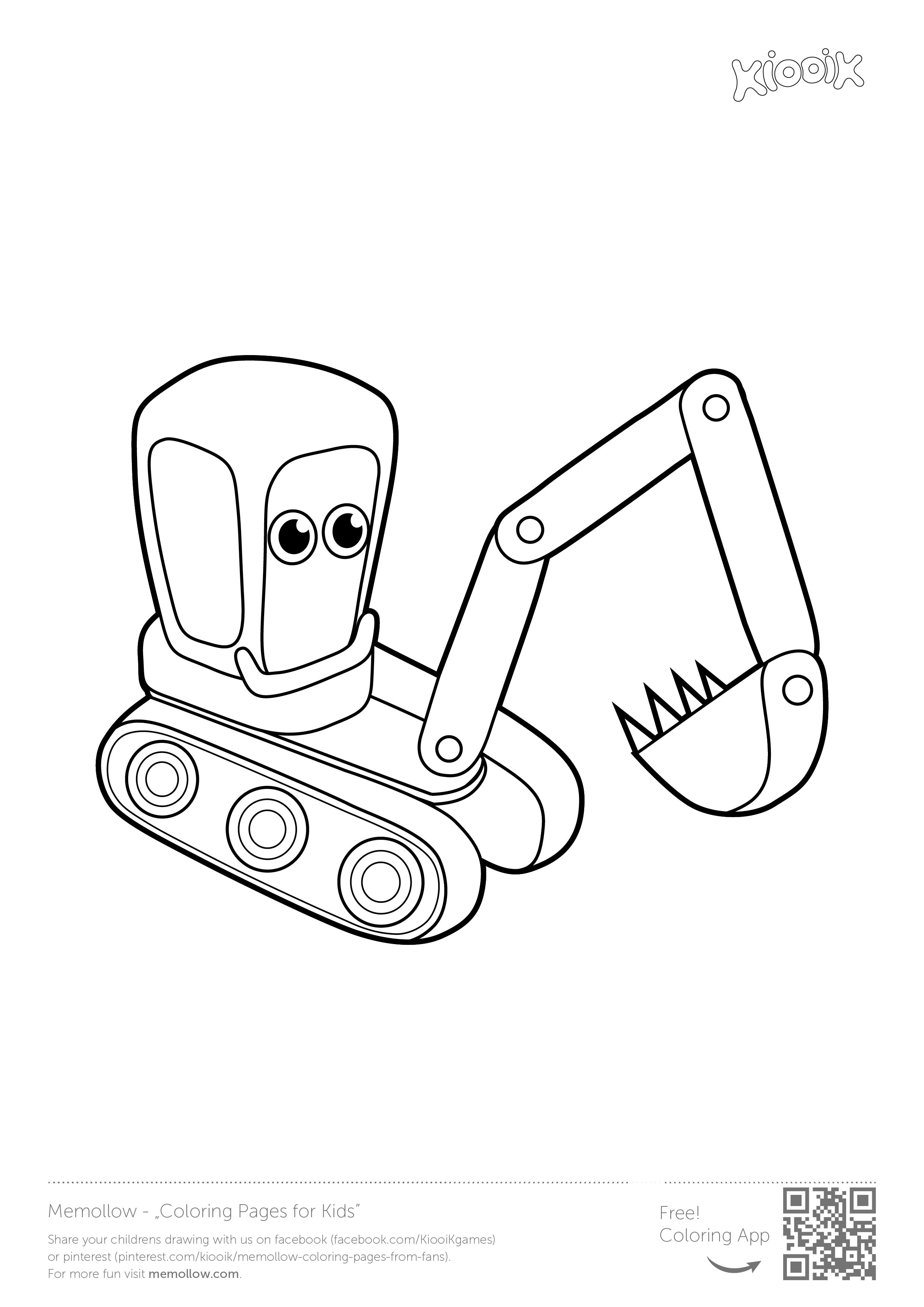 Excavator Memollow To Print Coloring Pages For Kids