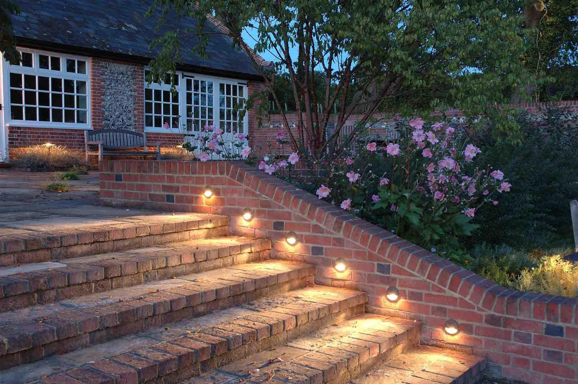 Ideas Garden Lighting Incredible Outdoor Stairs Lights With Brick