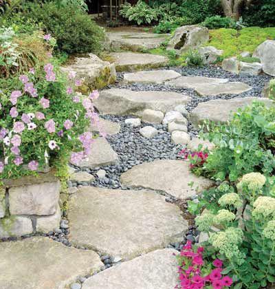 dry creek bed walkway gardening
