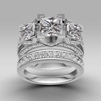 Princess Cut 925 Sterling Silver Women's Three-stone ...