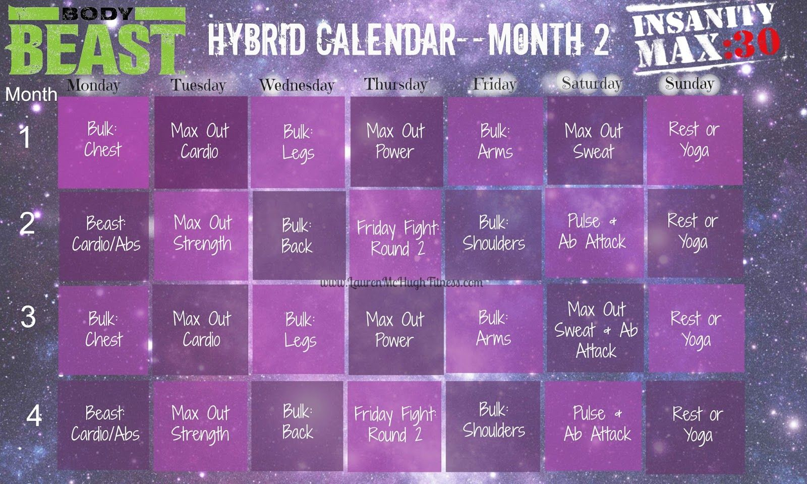 Body Beast And Max 30 Hybrid Workout Schedule