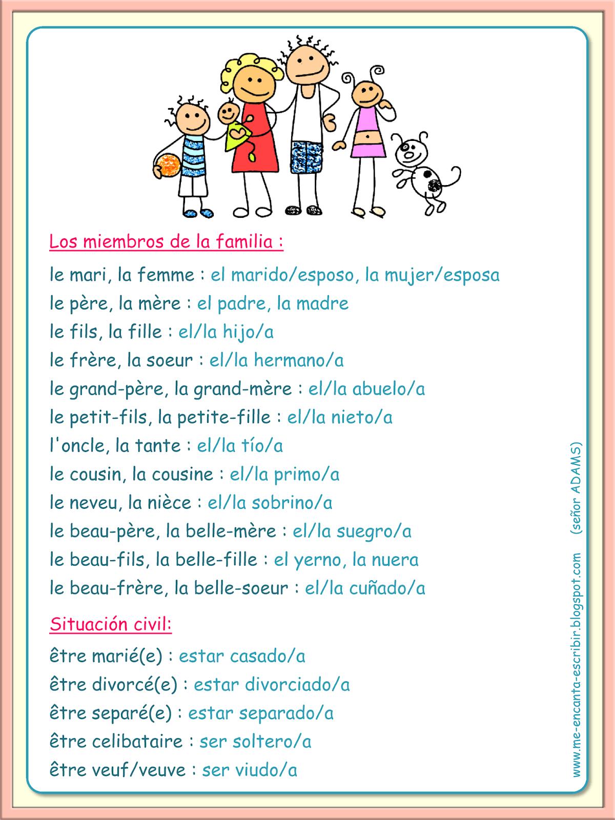 La Familia Miembros Vocabulario Me Encanta Escribir En