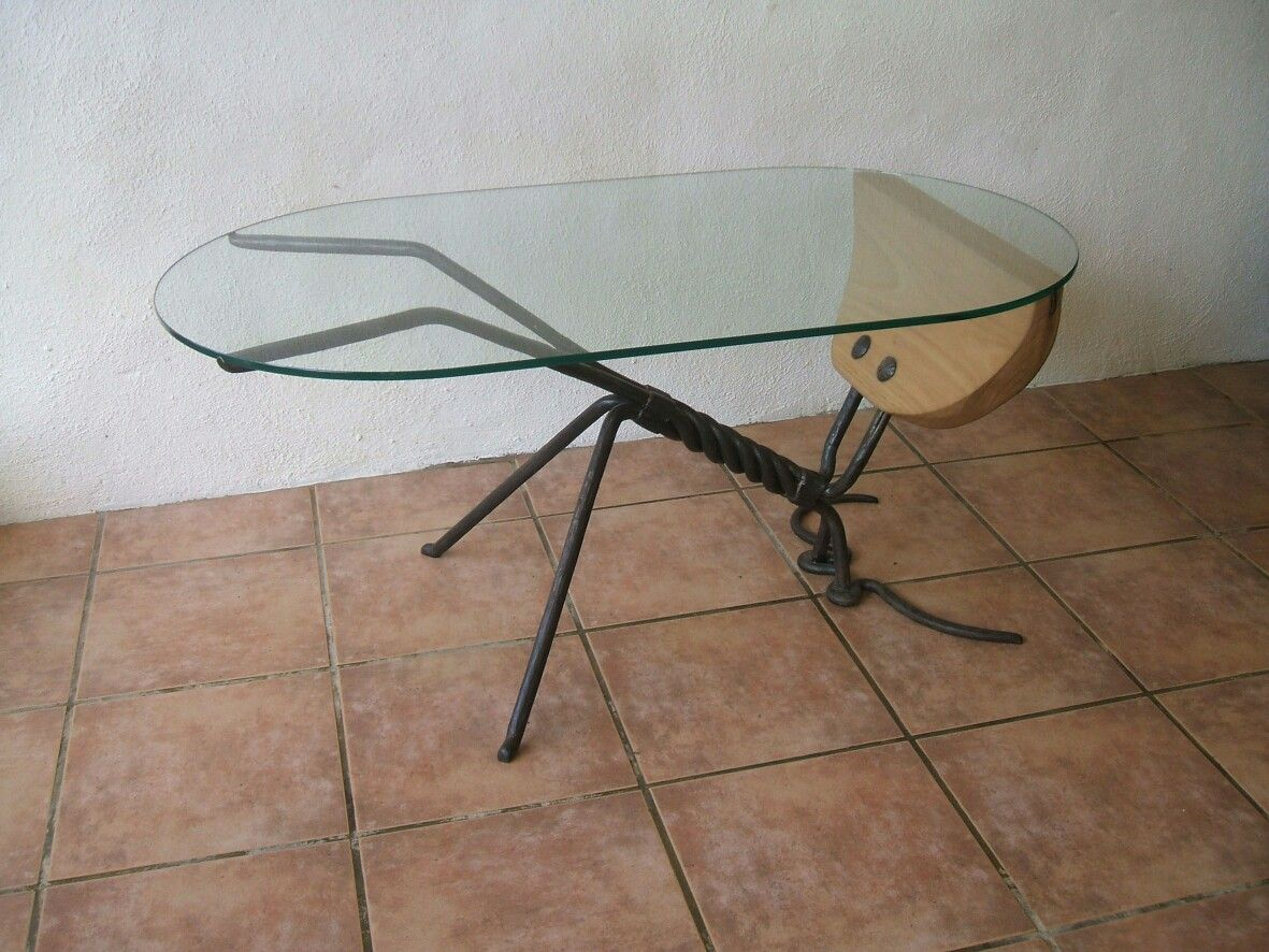 Mesa de hierro forjado madera y cristal Forja Handmade