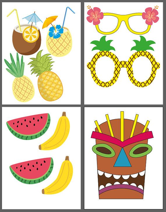 Moana Hawaiian Photo Booth Props INSTANT DOWNLOAD