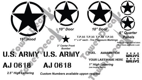 Jeep US Army Kit, The Most Authentic on Ebay vinyl decals