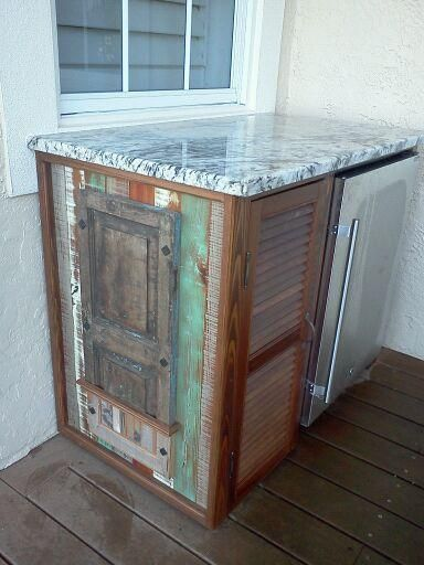 diy outdoor refrigerator cabinet Outdoor bar cabinet: repurposed shutters and wood w/ refrigerator and granite top | SRDGS: (DONE