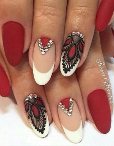White and maroon nail art design  wonderful combination of french tips as well lace designs that   combining the black polish also best images about unghie natalizie on pinterest arts rh uk
