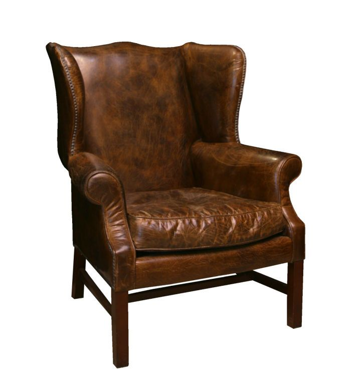 Impressive Distressed Leather Wing Back Chair  Wingback