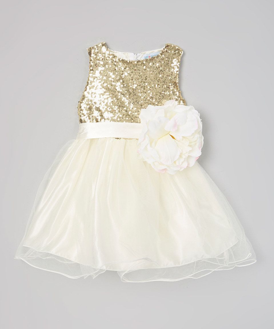 Just Couture Ivory & Gold Sequin Flower Girl Dress