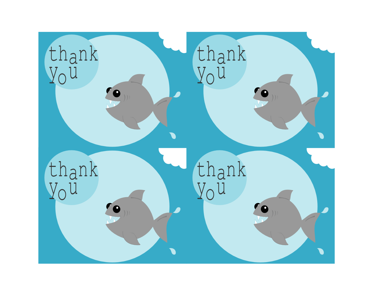 Tricia Rennea Illustrator Free Printable Shark Thank You Cards Building Blocks Pediatric
