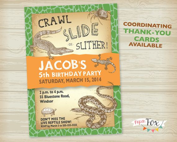 Reptile Birthday Party Invitation Printable By