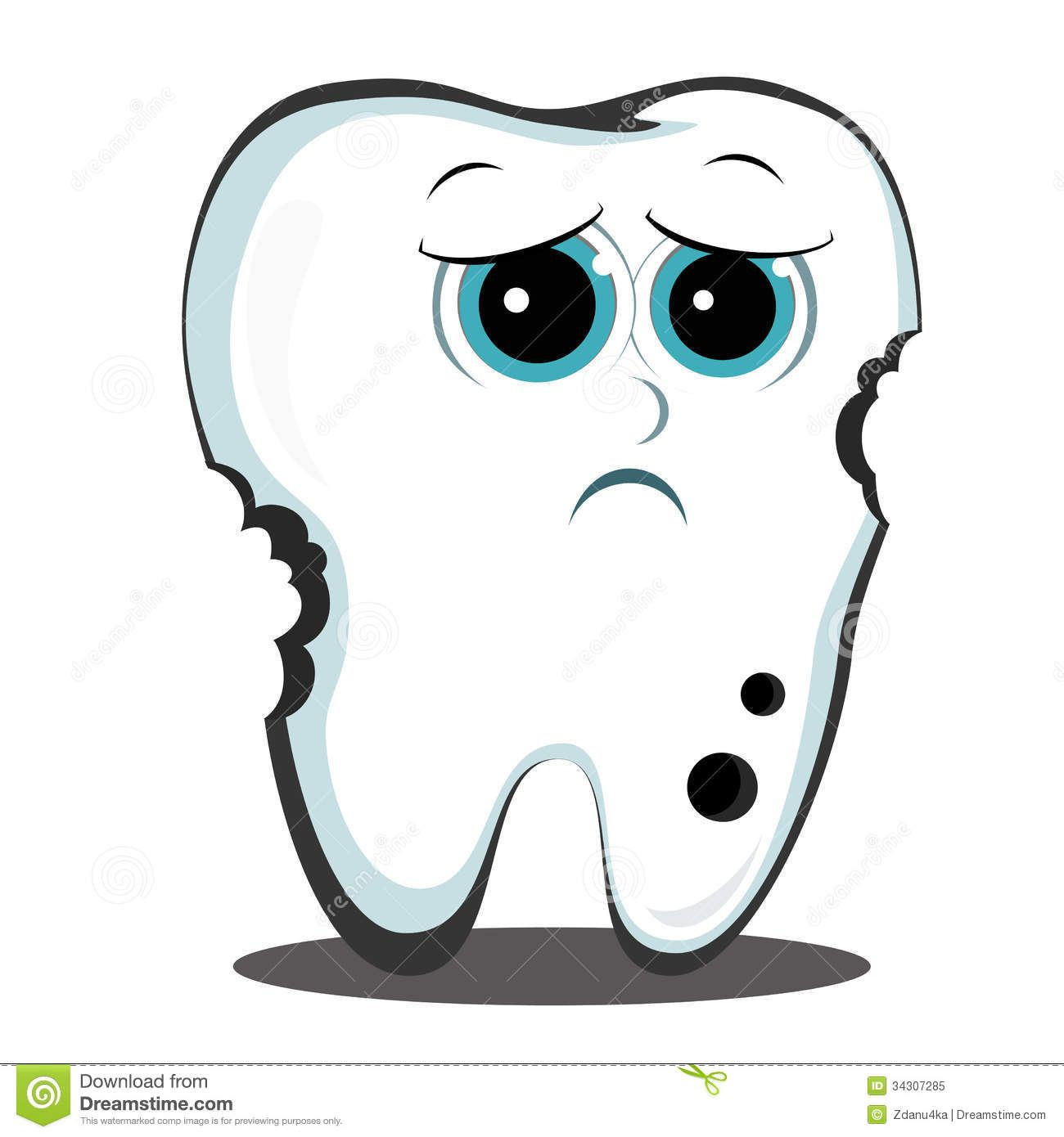 Cartoon Tooth Dental Cavity Stock Images