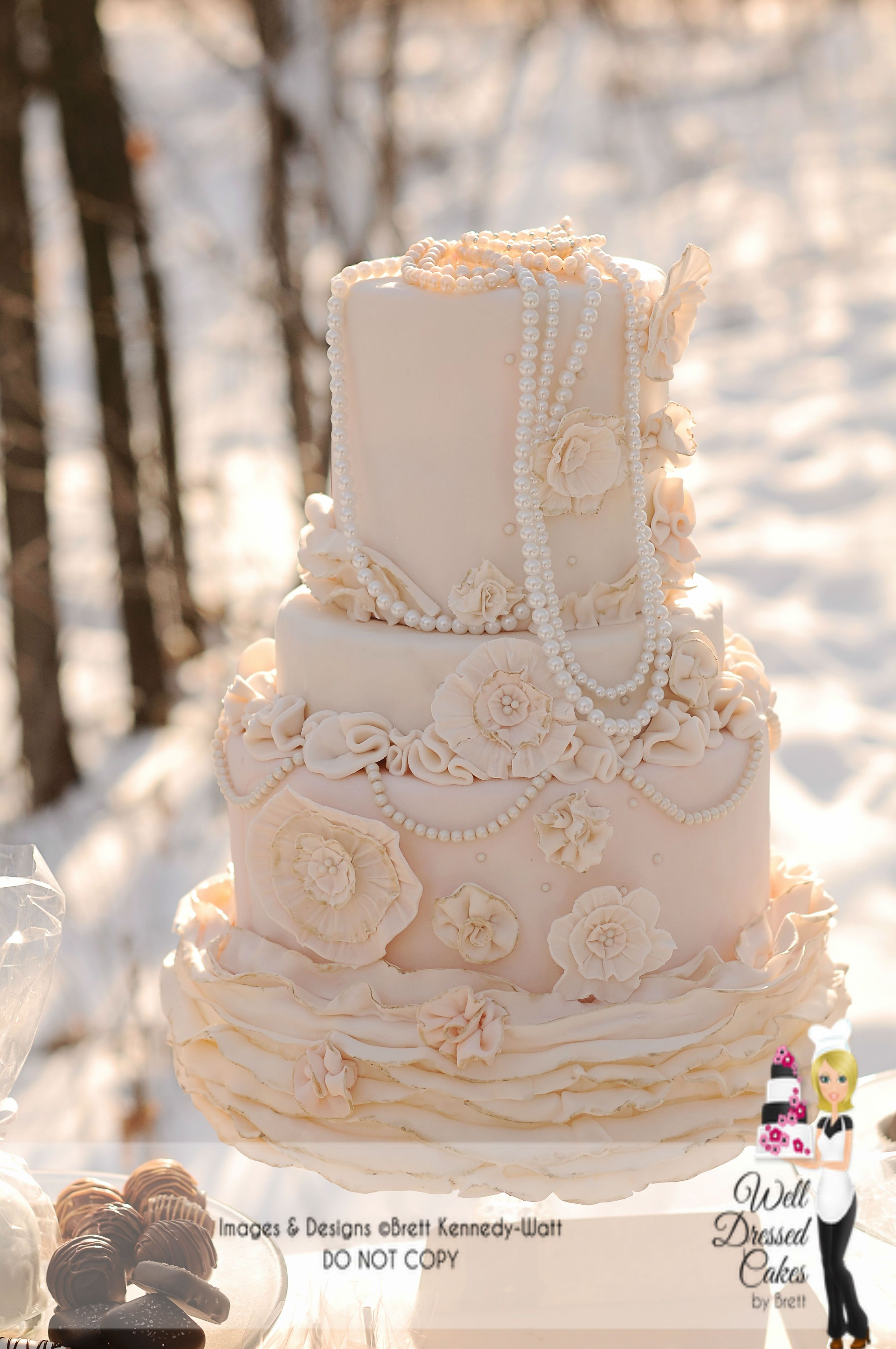 Vintage pearl Ruffle wedding cake  Ruffled wedding cake  Wedding Cake  Boutique  Pinterest