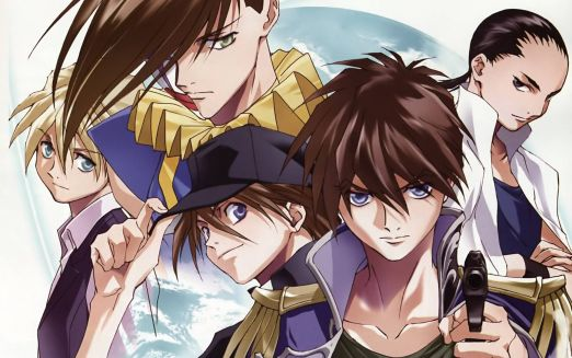 The five Gundam pilots. Qatre is light-skinned with blond hair and green eyes. Trowa's brown hair covers half of his face and then some. Duo wears a black baseball cap. Heero is holding a gun. Wufei's hair is in a tight black ponytail.
