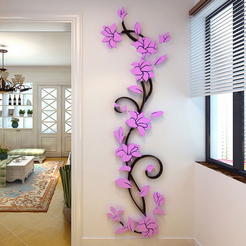 Us stock  flower room decor diy wall sticker removable acrylic decal mural new also rh pinterest