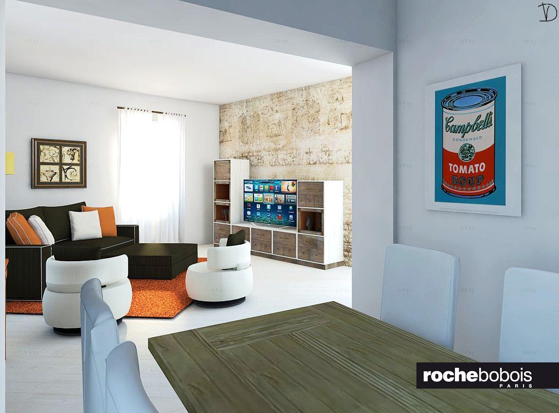 Sala da pranzo comunicante con la zona giorno Tavolo Syntaxe sedie vestite divano e