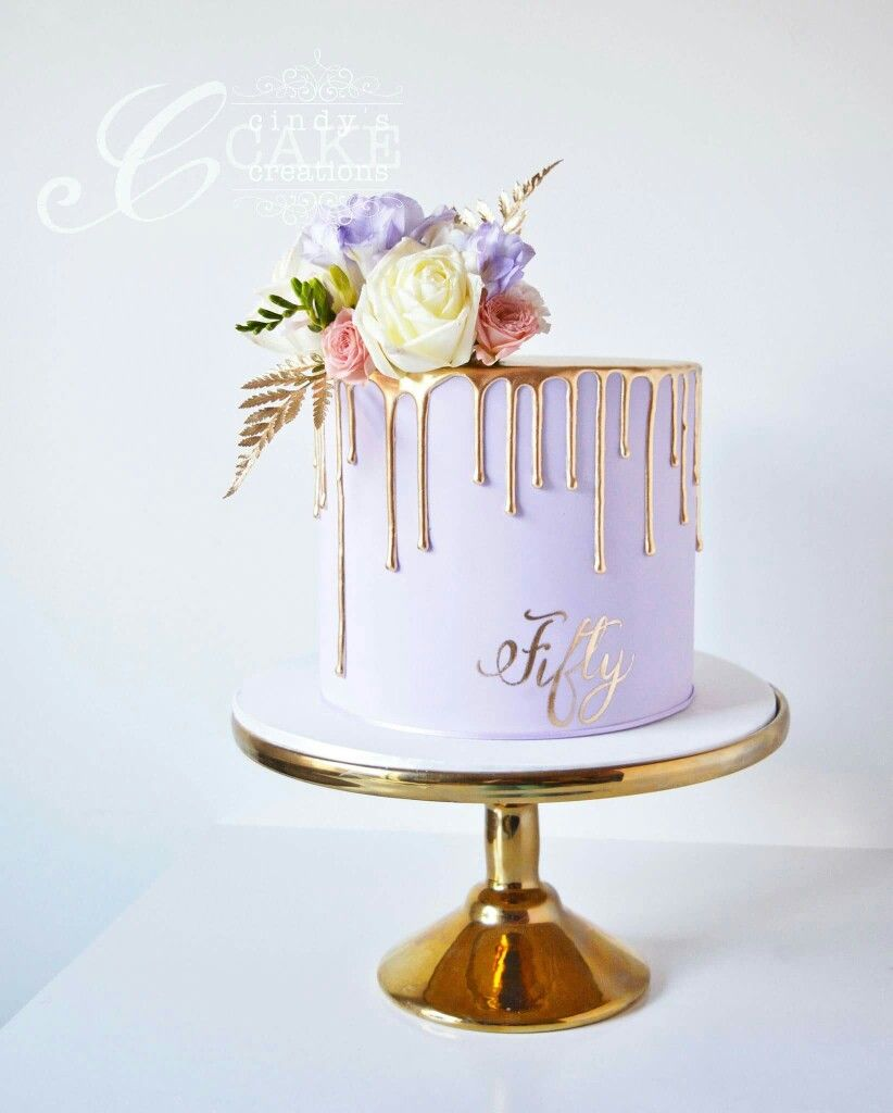 Lilac and gold drippy cake  Cake ideas  Pinterest