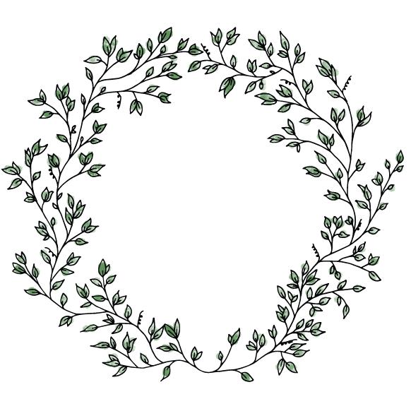 border rustic leaf circle