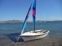"""Mi velero, Hobie Holder 14, """"Tres Maas"""", en el Mogote, La"""