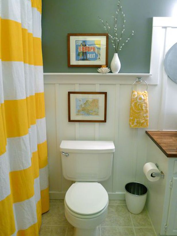 Budget Bathroom Makeovers Budget Bathroom Yellow Stripes And Bath