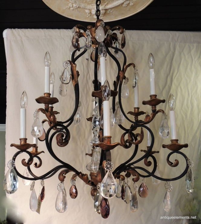 Beautiful Large Wrought Iron Gilt Chandelier With Amethyst Rock Crystals