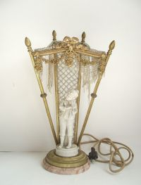 Details about ANTIQUE FRENCH BRONZE CRYSTAL FIGURAL ...