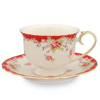 2 Vintage Red Rose Tea Cups and Saucers (2 Teacups and 2 ...