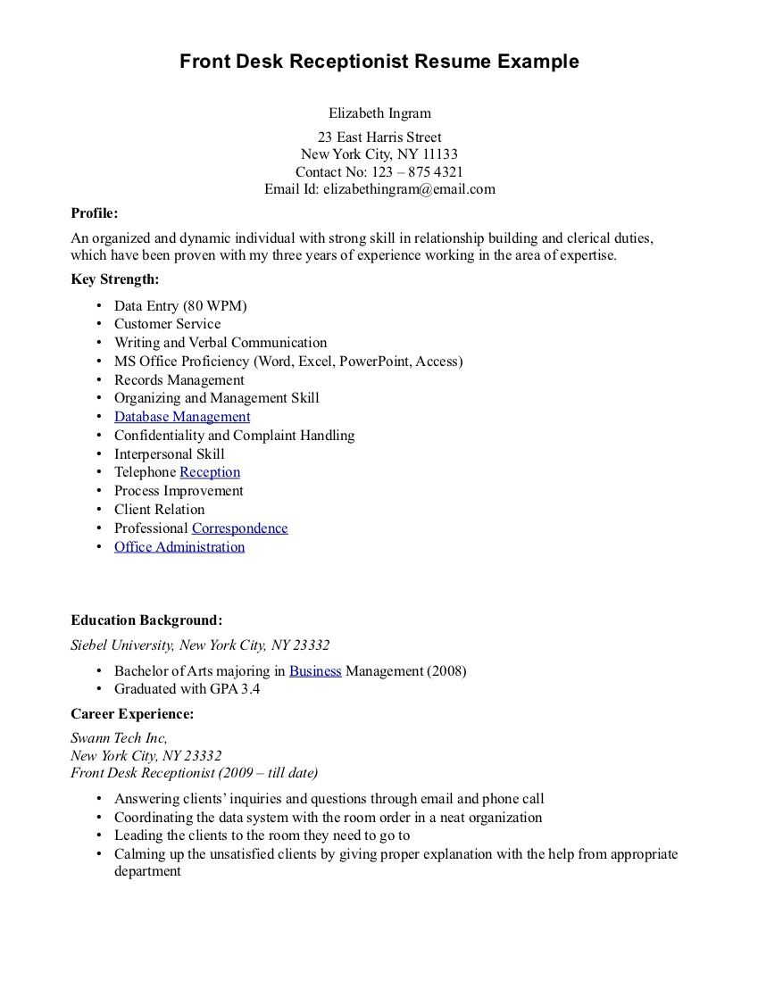 Resume Objective Examples For Receptionist Examples Of Resumes