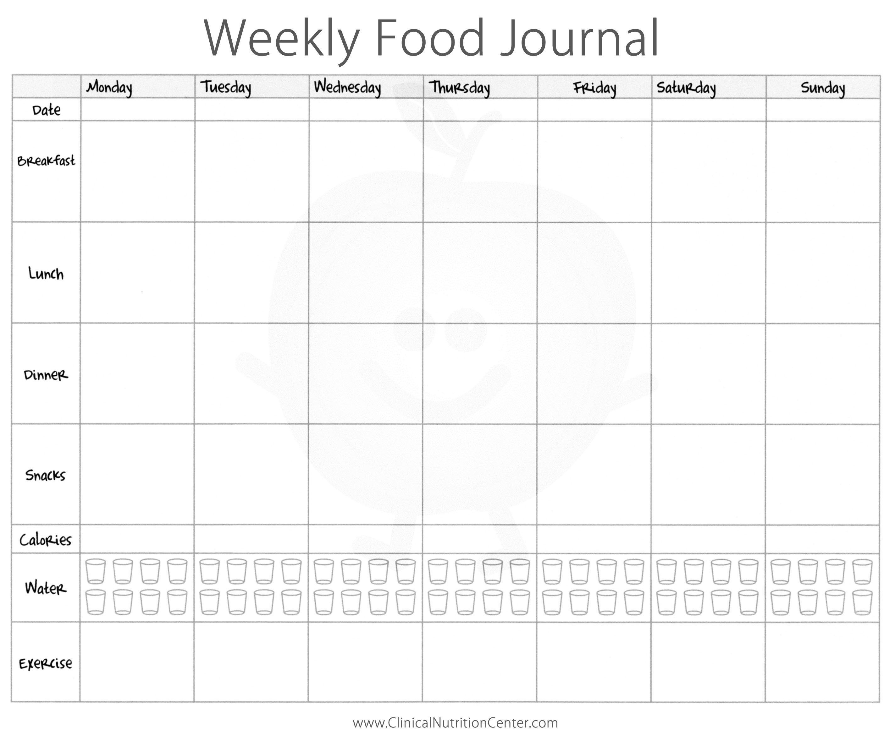 Weekly Food Journal Printable